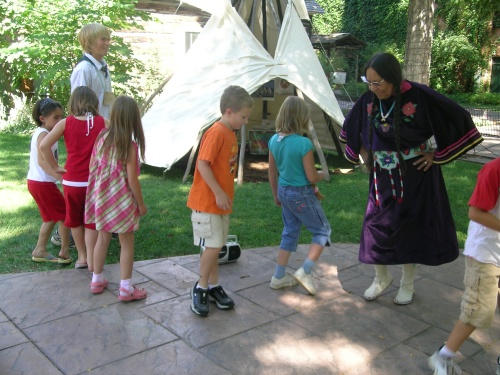 Anita Morin teaches a traditional Crow dance during the Wild West Days summer program