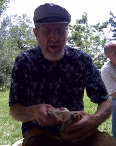 Bob Patten demonstrates how to strike stone with an antler