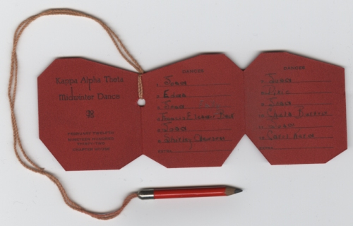 Kappa dance card, inside view