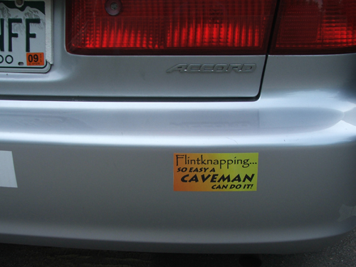 The bumper sticker on Bob's car says it all!