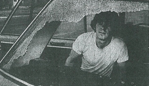Richard Agnew and the rear window of his car from July 31, 1979 Coloradoan