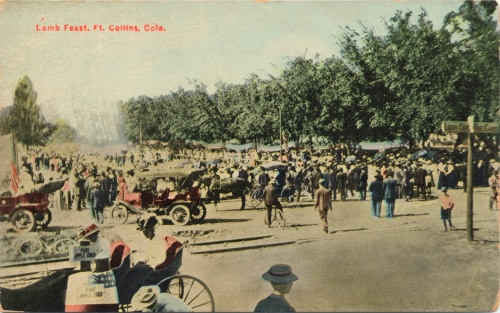 "A color postcard commemorating the ""Lamb Feast"""