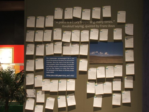 Visitor's responses to the question, What place tells your story, and why?